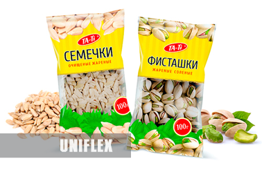 Flexible packaging for pistachio and seeds