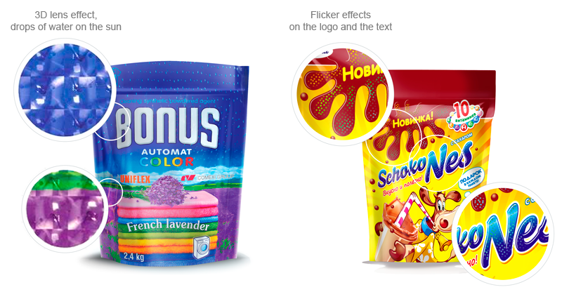 3D lens and flicker effects on web packaging